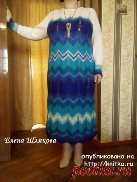 Женское платье спицами. Работа Елены Шляковой,  Вязание для женщин