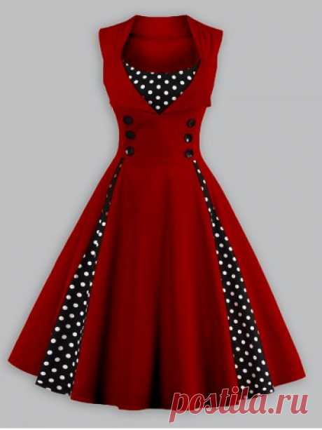 Vintage Polka Dot Panel Prom Swing Dress Cheapest and Latest women & men fashion site including categories such as dresses, shoes, bags and jewelry with free shipping all over the world.