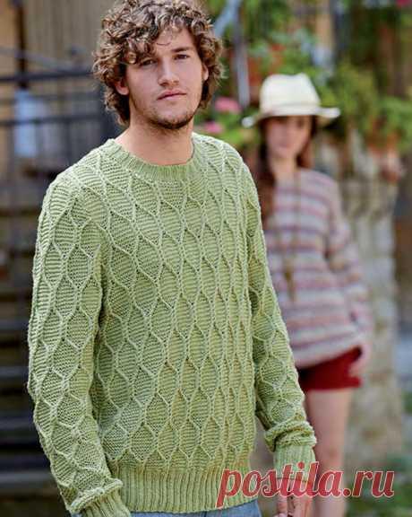 Мужской свитер спицами с узором соты - Портал рукоделия и моды