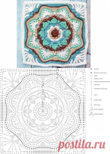 Голубой квадратный мотив. Схема
