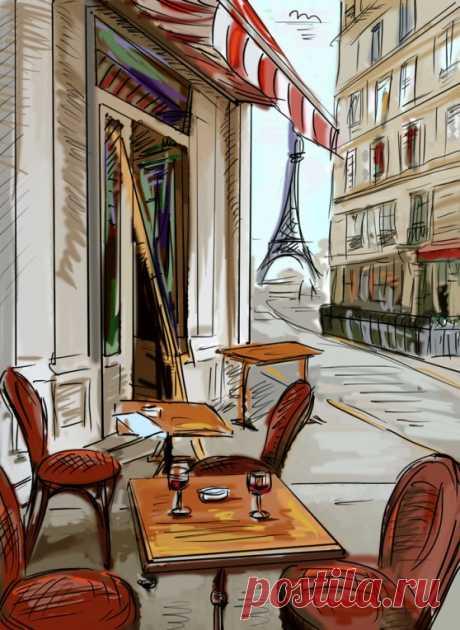 Фотообои «Пустое уличное кафе в Париже (цветная иллюстрация)» на заказ под нужный размер, материал и цвет.