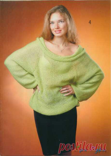 Салатовый пуловер реглан.