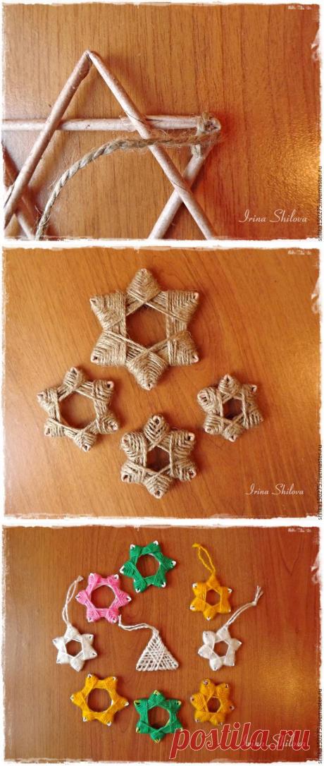 Звёздочки и ангелочки на рождественскую ёлку из джута и мешковины. Автор мк Ирина Шилова