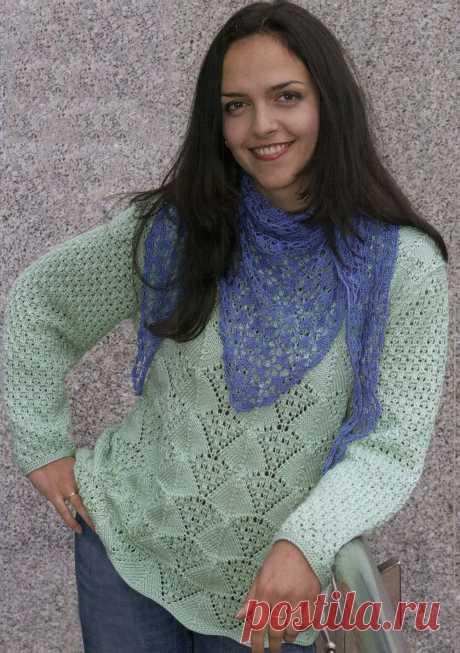 МОДА SIZE PLUS-52-54 размер. Пуловер сочетанием ажурных узоров спицами