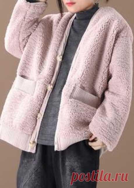 Warm oversized warm winter coat outwear pink v neck thick winter jacke – SooLinen