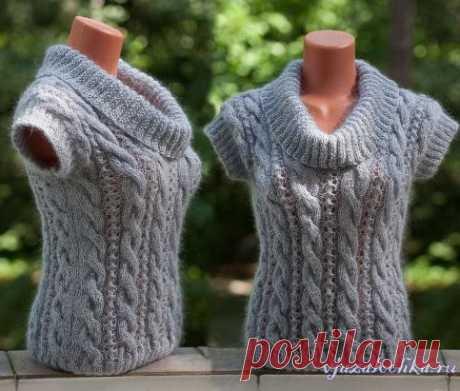 Нежно серый пуловер спицами от Ольги - olgaknit Схема: https://vjazalochka.ru/vyazanie-dlya-zhenshchin/pulovery-svitera/nezhno-seryj-pulover-spicami-ot-olgi-olgaknit