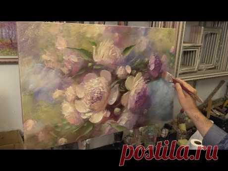 Персиковые пионы. Peach peonies. Etude. Oil painting. Как написать цветы. Пионы