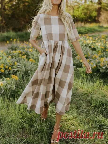 Women Plaid Print Round Neck Half Sleeve Midi Dresses With Side Pocket - US$22.99