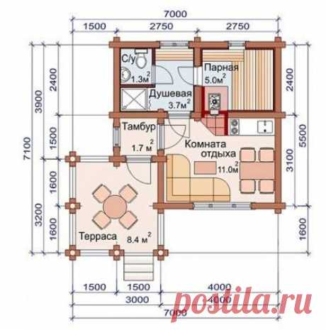Projects of one-storeyed baths - 11 options!