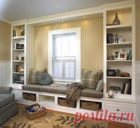 Сделайте стену с окном более функциональной.