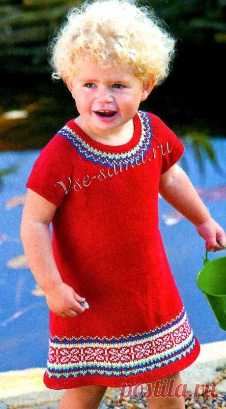 Красное платье спицами с орнаментом - Детские платья, сарафаны спицами