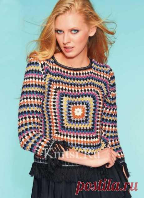 Яркий пуловер. Вязание для женщин / Пуловеры / Крючком