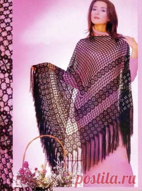 Очень красивая,эффектная вязаная шаль