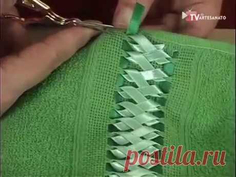 Вышивка лентами на полотенцах, салфетках...
