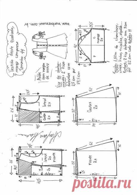 Vestido decote quadrado manga camponesa curta – Marlene Mukai