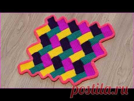 """Вязание коврика """"Паркет"""" с волнистыми краями тунисским крючком. Часть 2. Crochet mat. Part 2."""