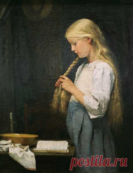 Girl braiding her hair - Albert Anker as art print or hand painted oil.