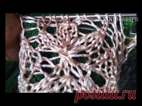МК для новичков по вязанию чудесного ажурного узора  трилистник по кругу спицами. Несколько вариаций