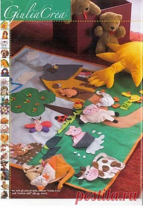 подсказки для коврика-развивайки + выкройки животных