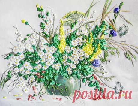 Embroidery Picture Meadow flowers. Silk ribbons от YakovlevaLena