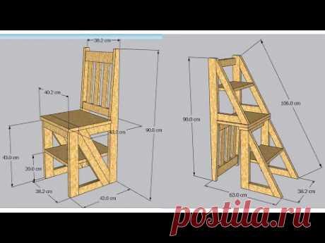 Como hacer una SILLA ESCALERA de madera - YouTube