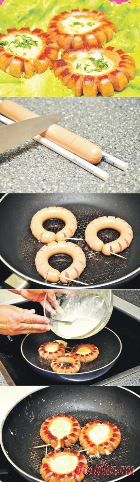 Как приготовить яйцо в сосиске - рецепт, ингридиенты и фотографии