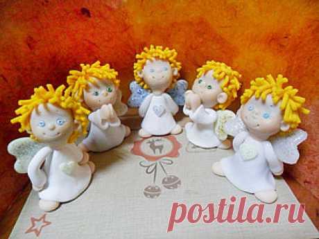 Рождественский ангел из полимерной глины - Ярмарка Мастеров - ручная работа, handmade