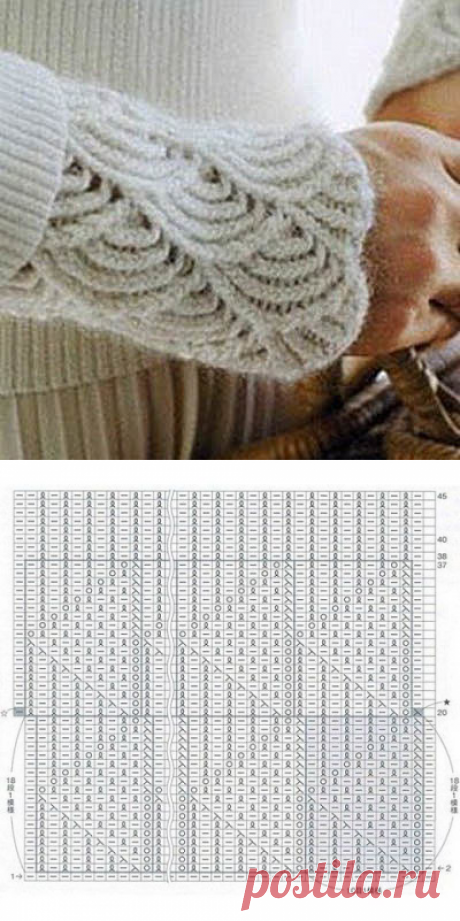 Очень красивый узор спицами в виде чешуек — DIYIdeas