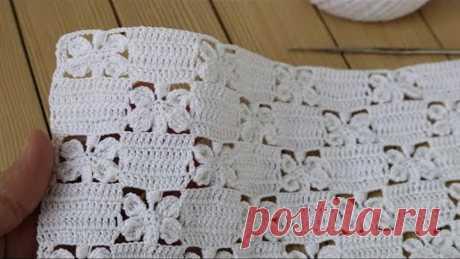 "УЗОР ""Бабочки"" ВЯЗАНИЕ КРЮЧКОМ мастер-класс СХЕМА узора Crochet butterfly lace pattern"