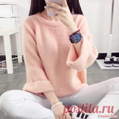Мохеровый пуловер жемчужной резинкой. - Страна Мам