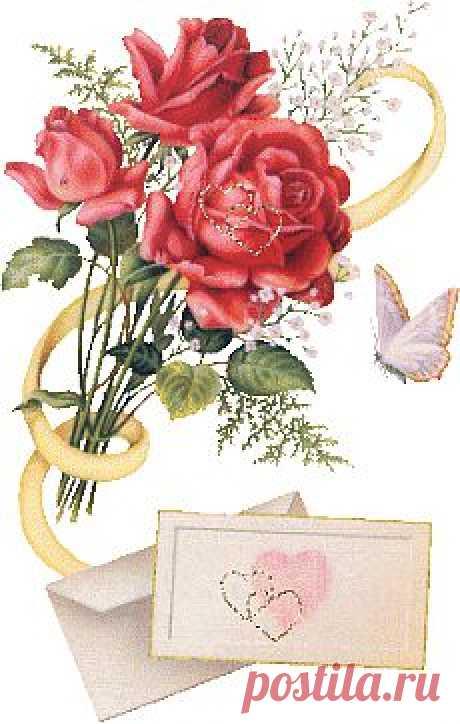 Розы и письмо - Цветы красивые - Анимация картинки - Анимированные картинки открытки - Картинки открытки обои