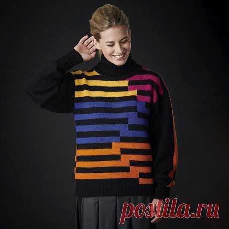 Tortona Sweater от Дарио Тубиана  Этот свитер от Дарио Тубиана, сочетающий черный фон с яркими цветовыми блоками, выполнен в стиле ретро 1980-х годов. Он связан в технике интарсии, а дизайн Дарио включает высокий воротник в резинку и черные рукава, украшенные широкой оранжевой полосой.  Размеры: 6-8 10-12 14-16 18-20 22-24 26-28 30-32 34-36 38-40 Для окр груди: 71- 76 81-86 92-97 102-107 112-117 122-127 132-137 142-147 152-157 см