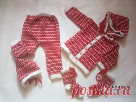 Вязанный спицами костюм для девочки. Работа Ивановой Людмилы, Вязание для детей