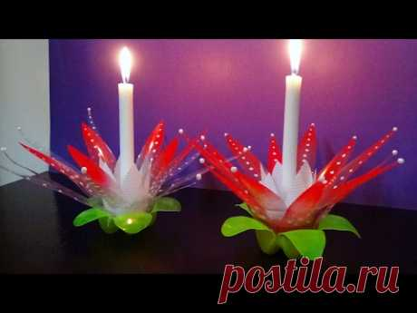 DIY - How To Make A Candle/Light Stand With Waste Plastic Bottles | Best Use Of Waste |