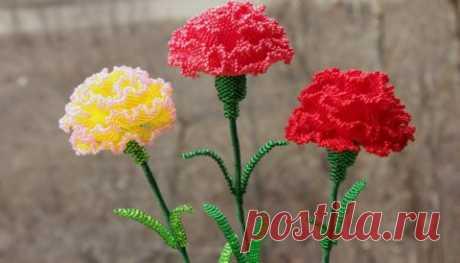 Как сплести из бисера цветок – гвоздика | Domosedkam.ru