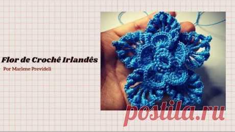 Flor azul de Crochê Irlandês Passo a Passo!