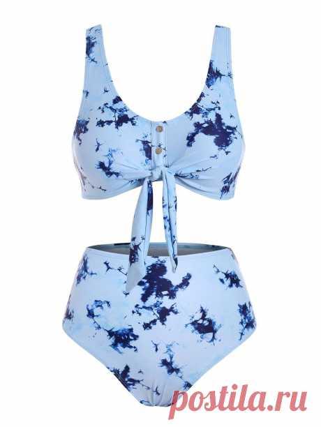 [30% OFF] 2020 Tie Dye Buttons Bikini Swimwear In PASTEL BLUE | DressLily