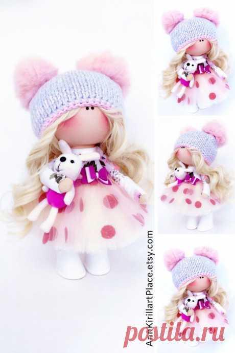 Bambole Rag Doll Winter Muñecas Textile Art Doll Tilda Pink | Etsy