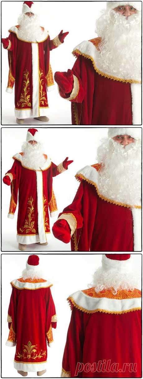 Костюм Дед Мороз с пелериной красный парча, бархат с вышивкой