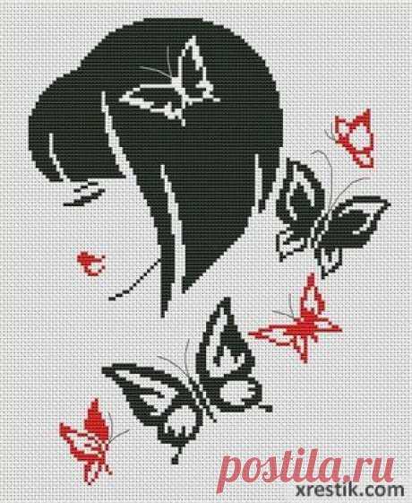 Стильная девушка №2  Размер в крестиках:... / Рукоделие / техника вязания жакард / Pinme.ru