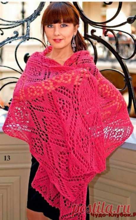 Ажурный палантин спицами розового цвета | ✺❁сайт ЧУДО-клубок ❣ ❂✺Ажурный палантин спицами розового цвета схемы и описание: ❂ ►►➤6 000 ✿моделей вязания ❣❣❣ 70 000 узоров►►Заходите❣❣ %