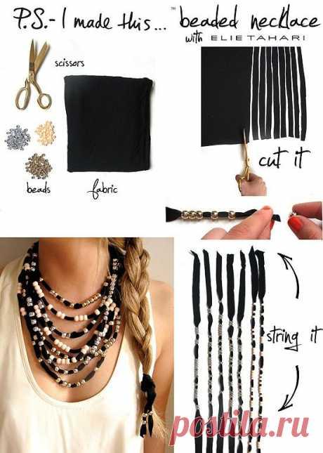 Ожерелье из футболочных остатков (мастер-класс) / Украшения и бижутерия / Модный сайт о стильной переделке одежды и интерьера