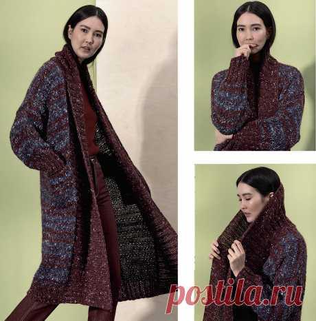 Пальто с большим шалевым воротником — схема вязания спицами с описанием на BurdaStyle.ru