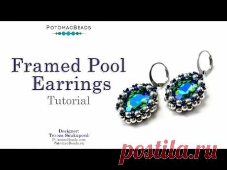 Framed Pool Earrings - DIY Jewelry Making Tutorial by PotomacBeads