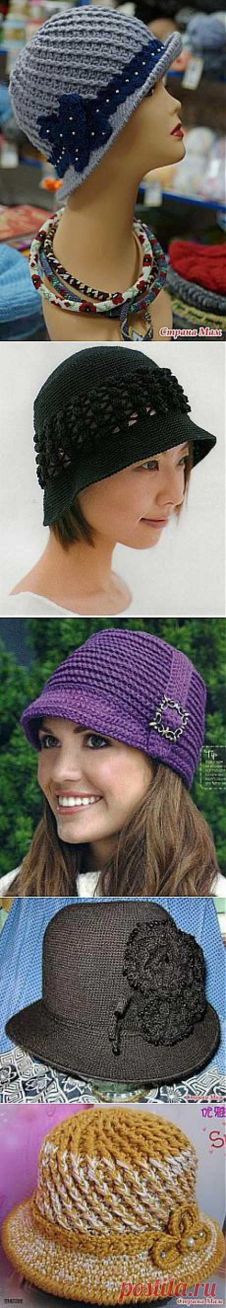 Шляпки для женщин связанные крючком - мк и схемы.