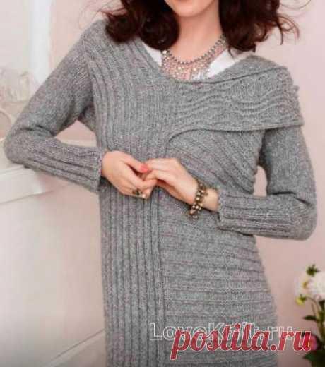Платье в продольную и поперечную полоску с косами схема спицами