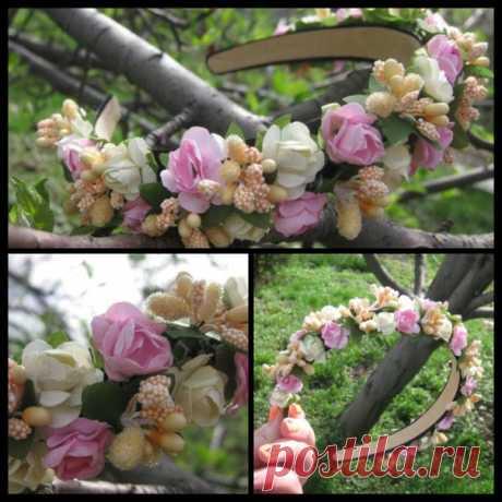 № 9 Ободок расшитый цветами в ручную