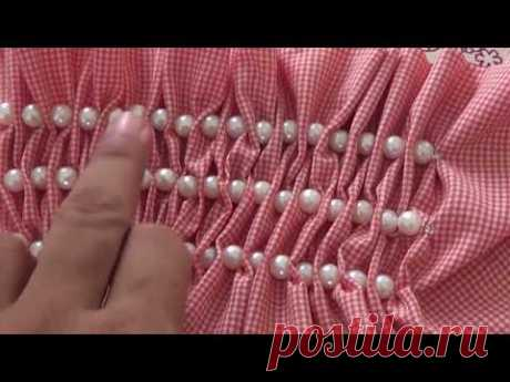 beautiful ,stylish ,easy & simple beaded smoking idea for sleeves & frocks for baby girl