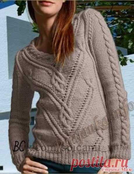 Пуловер с красивыми переплетениями Пряжа Baltic – 60% акрил, 40% полиамид, 50г~80м  Спицы 4,5-5 мм, спицы для кос Используемые узоры: - резинка 1х1, спицы 4,5 мм - лицевая гладь, спицы 5 мм - фантазийный узор – см.