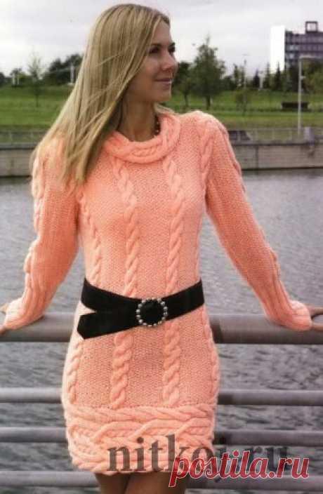 Теплое платье спицами » Ниткой - вязаные вещи для вашего дома, вязание крючком, вязание спицами, схемы вязания